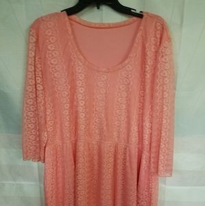 Peachy Pink Lace Overlay Dress 2XL